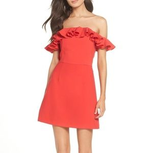 French Connection Ruffled Off-The-Shoulder Dress